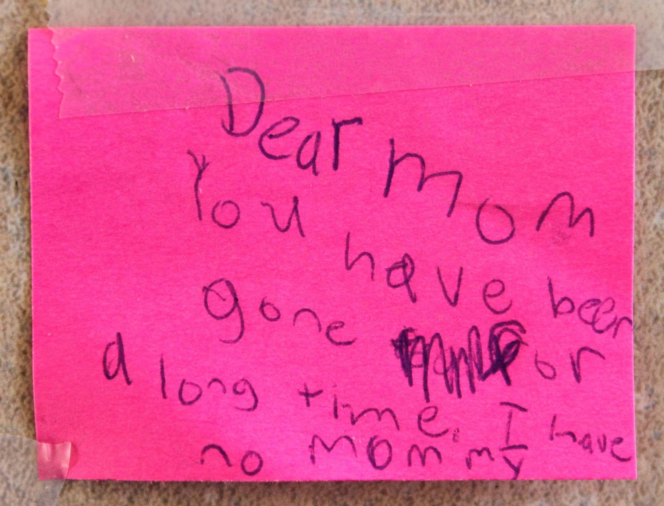 "Dear Mom Poem It reads: ""dear mom."